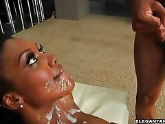 Gorgeous ebony babe gets multiple cumshots on her face