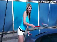 Pretty and tight carwash girl flashed her body and fucked
