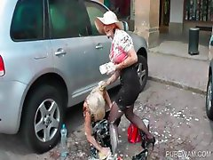 WAM lesbo scene in public with two hoes