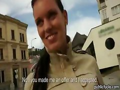 Brunette beauty Czech girl takes money for public pounding