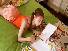 Nasty homework of glamorous teenager