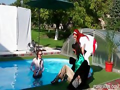 WAM lesbians get wet in the pool