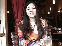 Nadine cute innocent brunette teen flashing tits in public and having dinner in restaurant