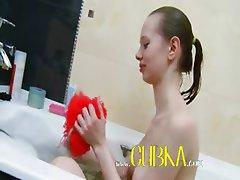 skeletal super girl in bubble bath