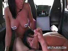 Nasty threesome on the brutal bus back seat