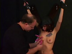 Hottie with a cute rack endures a BDSM session for audition