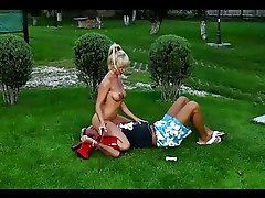 Sexy blond girl is punishing her gardener outdoor