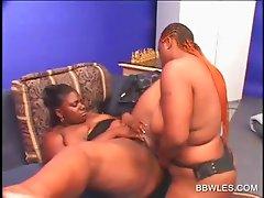 Ebony BBW lesbo pussy licked and dildo fucked