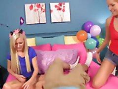 BDay Present, Handjob by Vasessa Cage & Elaina Raye