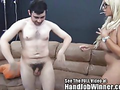 Tiny spinner Bridgette B give a fan a handjob