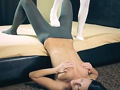 Amazing hot girl2girl in pantyhose