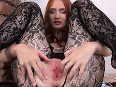 Gyno toy in her huge redhead cunt