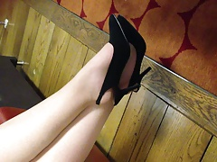 Louise Nylon dangling her shoe....