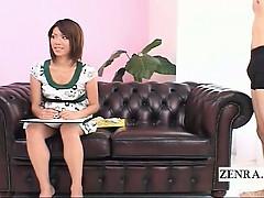Subtitled CFNM tan Japanese artist provides handjob