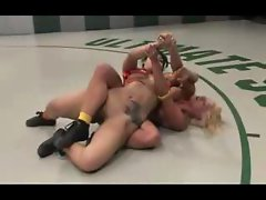 Feisty female warriors wrestling
