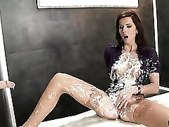 Purple satin blouse covered in cumshots