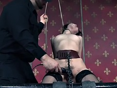 sex slave yhivi gets stimulated with electric shocker and vibrator