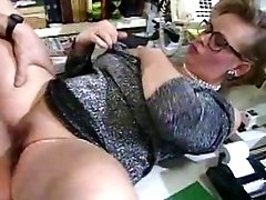 Big tits retro secretary in glasses loves hardcore fuck on her work desk