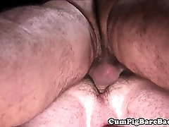 Mature bear plays with cock and nipples