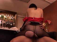 Buxom Oriental chicks in pantyhose enjoy wild sex action