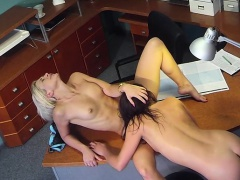 Blonde nursle licking sexy patient on security camera