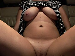 Big boobs masturbation in the car