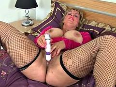 British milf lulu lush peels off her red stockings mallas