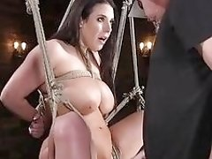 Natural huge tits babe feet stabbed in sex dungeon BDSM