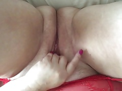 Playing with chubby pussy in stockings