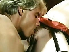 Handsome Blonde Guy Eats Hairy Pussy Of Vintage Stunner