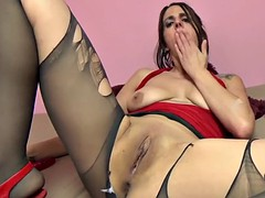 busty milf lavender rayne masturbates in torn stockings
