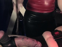 Femdom mistress using cock pump on subject