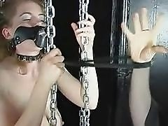 Master and his top bitch fuck with bound slave BDSM