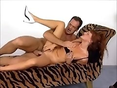 Skinny German retro milf erects big cock with deepthroat blowjob