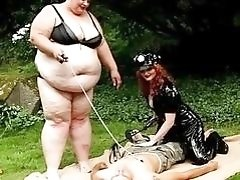 Chubby dominant chicks fuck with their skinny slave outdoors BDSM