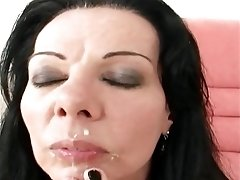 Skinny vintage brunette with small boobies blowjobs big cock