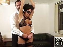 Blindfolded sub slut gagging on cock before getting rammed BDSM