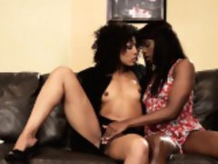 Ebony milf teaches teen