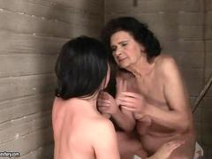 Granny and young hooker fucking in public toilet