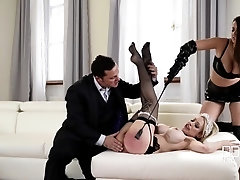 Russian Busty Domina's Private Giant Strap-on Fuck Trio, Part 1