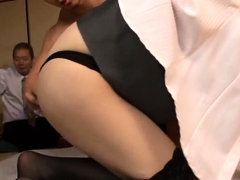 Provoking Asian girl in stockings enjoys a hot threesome