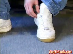 Twink cuts his socks off and teases with feet and toes