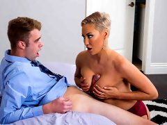Sensual mom with big boobs and stockings Ryan Keely enjoys hardcore sex