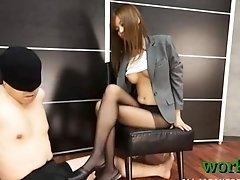 Taut japanese office playgirl feels needy for the full penis