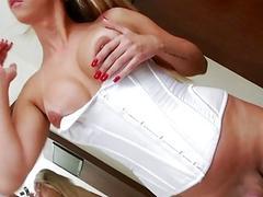 Big butt tranny Nicole Bahls fucks hard with bald dude
