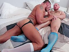 Hunks are having wild anal sex in bed while being filmed