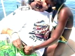 a slutty amateur ebony babe gets her wet pussy fucked on the beach by white lover