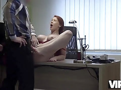 Buxom ginger doll is getting screwed during a job conversation and luving it a plenty of