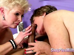 A Couple Of MILFS Give Incredible Blowjob