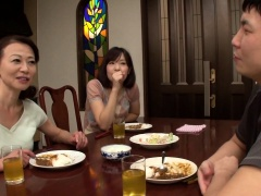 Naughty Japanese lady has a young guy fucking her snatch